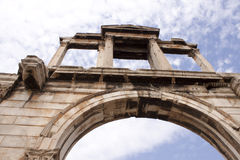 Arc of Hadrian. Ancient building in the center of Athens Royalty Free Stock Image