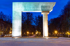 The Arc. Illuminated monument in the Old Town of Klaipeda city. Lithuania. Stock Image