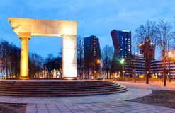 The Arc. Illuminated monument in the Old Town of Klaipeda city. Lithuania. Royalty Free Stock Image