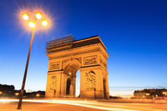 Arc lantern. Beautiful night view of the Arc de Triomphe in Paris, France Royalty Free Stock Image