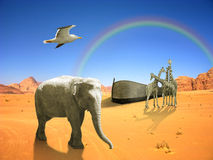 Arc of Noah. With elephant, bird, giraffes in desert with rainbow Stock Images