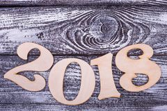 Arc of numbers 2018. Place for text on grey background. Happy New Year royalty free stock photos