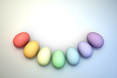 An Arc of Pastel Rainbow Colored 3D Illustrated Easter Eggs over a Bright Background. Royalty Free Stock Images