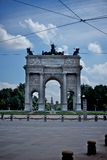 Arc of peace, milan. Arc of peace in sempione park, milan italy Stock Photos