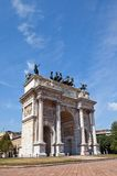 Arc of Peace ( XIX c.)  in Sempione Park. Milan, Italy. Arc of Peace (Arco della Pace, circa XIX c.)  in Sempione Park of Milan, Italy Royalty Free Stock Photography