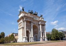 Arc of Peace ( XIX c.)  in Sempione Park. Milan, Italy Stock Photography