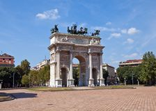 Arc of Peace ( XIX c.)  in Sempione Park. Milan, Italy. Arc of Peace (Arco della Pace, circa XIX c.)  in Sempione Park of Milan, Italy Stock Images