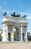 Arc of Peace (XIX century) in Sempione Park, Milan, Italy. Arc of Peace (Arco della Pace, XIX century) in Sempione Park of Milan, Italy Stock Images