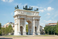 Arc of Peace (XIX century) in Sempione Park, Milan, Italy. Arc of Peace (Arco della Pace, XIX century) in Sempione Park of Milan, Italy (horizontal Stock Image