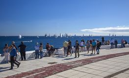 Arc rally start. LAS PALMAS, SPAIN - NOVEMBER 25: Spectators are enjoying beautiful weather on day of departure of ARC 2018, Atlantic Rally for Cruisers, on stock photography