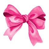 Arc rose de cadeau Illustration d'aquarelle Photo stock