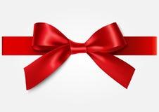 Arc rouge de Decoratie avec le ruban Image libre de droits