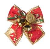 Arc rouge de Noël d'isolement sur le blanc Photographie stock libre de droits