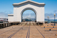 The arc and the ship in San Francisco. A view of a ship through the arc, San Francisco Stock Photography