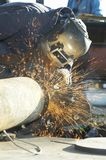 Arc sparks. Arc welder working on dayshift Royalty Free Stock Images