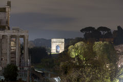 Arc tito in rome night photo Royalty Free Stock Photos