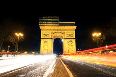 Arc Traffic. Beautiful night view of the Arc de Triomphe in Paris, France Royalty Free Stock Photography