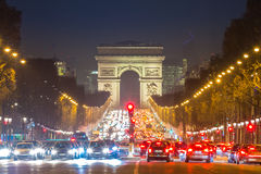 Arc of Triomphe Champs-Elysees Paris France. Arc of Triomphe Paris, Champs-Elysees France at night Stock Photography