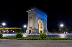 Arc of Triomphe night view in Bucharest. Romania Royalty Free Stock Photos