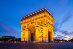 Arc of Triomphe Paris. Arc of Triomphe Champs Elysees Paris city at sunset Royalty Free Stock Image