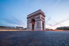 Arc of Triomphe Paris. Arc of Triomphe Champs Elysees Paris city at sunset Stock Photos