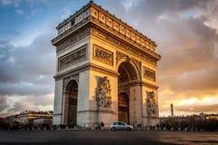 Arc triomphe in Paris. Sunset at arc triomphe in Paris Stock Image