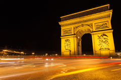 Arc of Triumph. In Avenue of Champs-Elysees at night Royalty Free Stock Photo