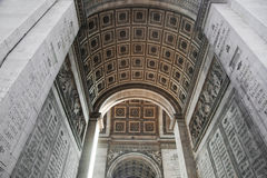 Arc of triumph from bottom, Paris, France. French Arc de Triomphe Stock Photo