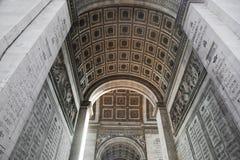 Arc of triumph from bottom, Paris, France. French Arc de Triomphe Stock Photo