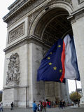Arc of triumph, France. Arc of triumph with the french flag paris city France Stock Photos
