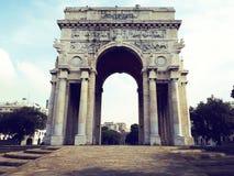 Arc of triumph in Genoa at piazza della vittoria. Victory square, Italy Stock Photos