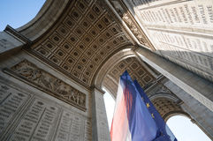 Arc of triumph, paris. Arc of triumph from bottom, paris Royalty Free Stock Images