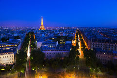 From Arc of the Triumph Paris France. France Paris From Arc of the Triumph Dusk Eiffel Tower Stock Photos