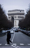 The arc of  triumph in Paris. One of the famous and beautiful place in Paris the champs elysee Stock Photo