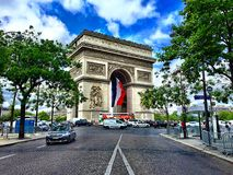 Arc Triumph. Parisian sketchers from road Stock Image