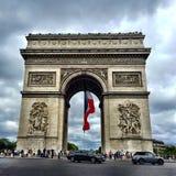 Arc Triumph. Rainy day in Paris Stock Images