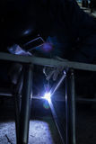 Arc welder with welding sparks Royalty Free Stock Photography