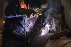 Arc welder at work Royalty Free Stock Photo