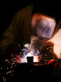 Arc Welding. Steel with Sparks and Smoke Royalty Free Stock Image