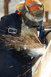 Arc welding. A picture of an arc welder at work Stock Image