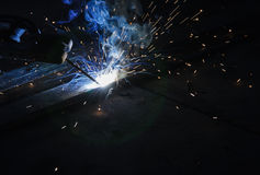 Arc welding. Fire on black background Stock Images