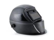 Arc welding helmet. Black arc welding helmet over white Stock Photos