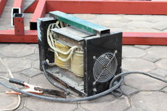 Arc welding machine. Old arc welding machine use in construction site Royalty Free Stock Photo