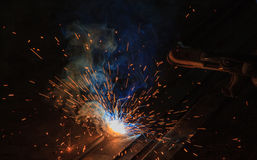 Arc welding. Smoke and fire Stock Image