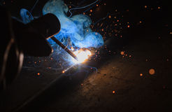 Arc welding. Smoke and fire balloon Royalty Free Stock Photos