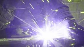Arc welding steel pipe stock video