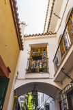 Arc, white architecture tourist streets in Marbella, Andalucia S. Pain Royalty Free Stock Photos