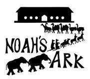 Arca de Noah con la ilustración del vector de los animales Fotos de archivo