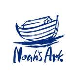 Arca desenhado à mão do ` s de Noah e a inscrição ilustração do vetor