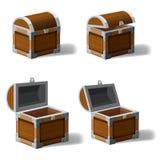 A arca do tesouro antiga aberta e fechado do grupo, ajustou ícones, jogo e elementos de UI, vetor, estilo dos desenhos animados ilustração stock